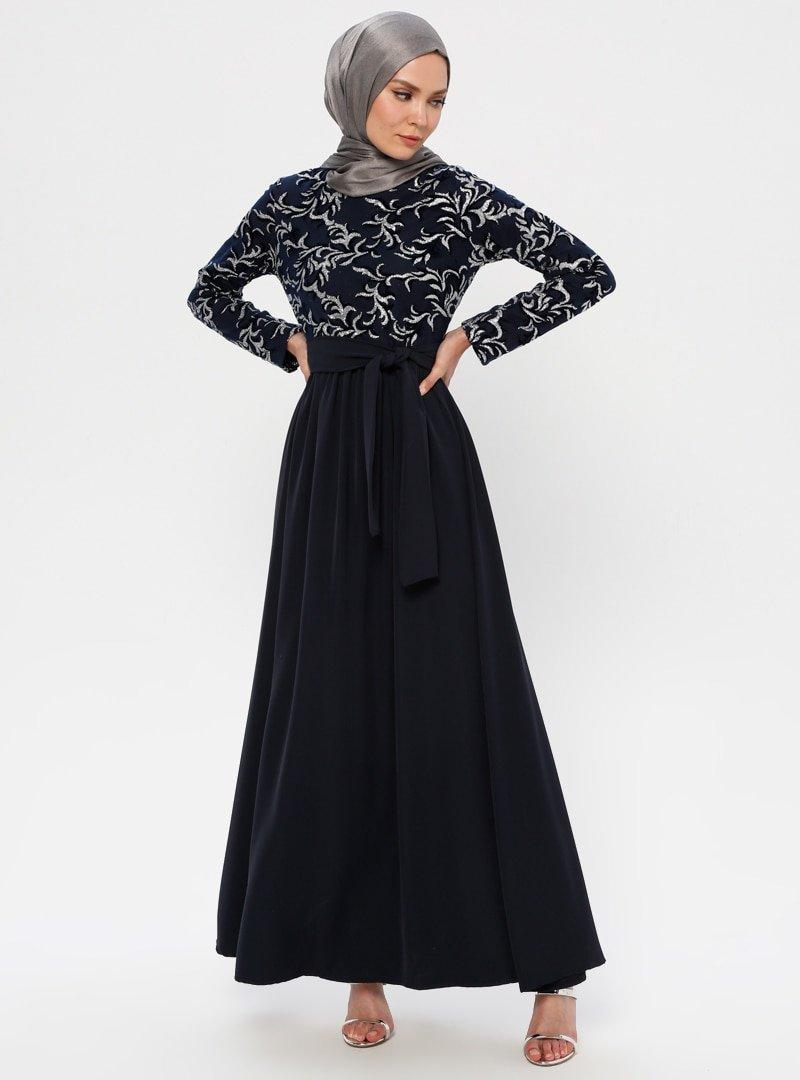 Filizzade Gümüş Lacivert Flok Baskılı Abiye Elbise