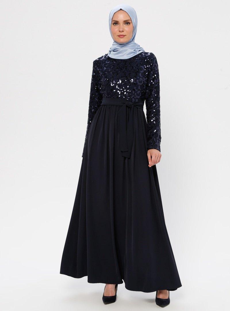 Filizzade Lacivert Payetli Abiye Elbise