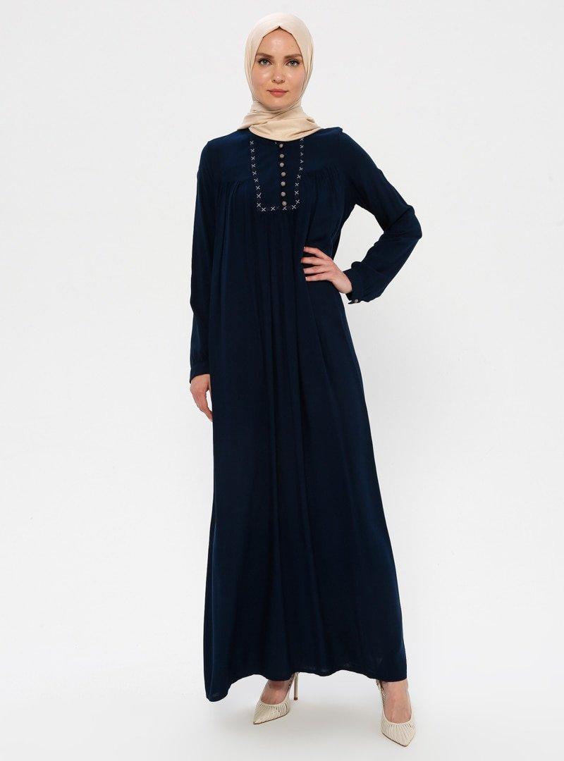 Ginezza Lacivert Nakışlı Elbise