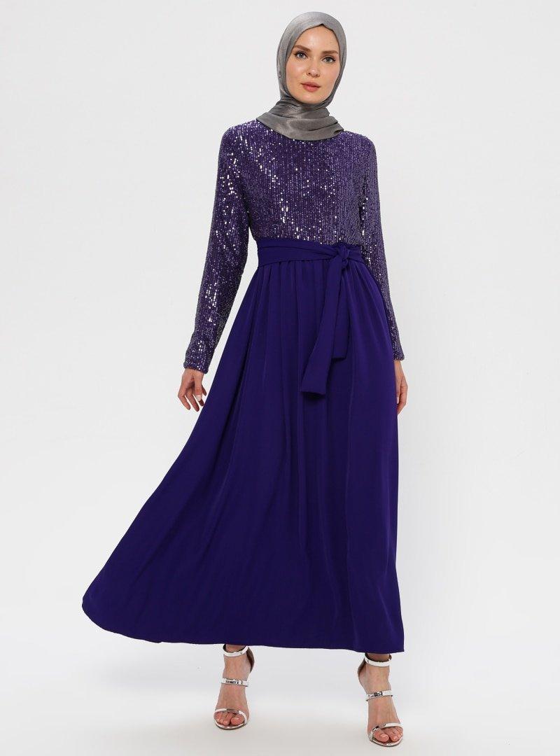Filizzade Mor Payetli Abiye Elbise
