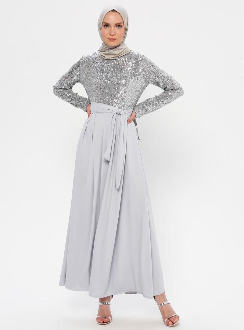 Filizzade Gümüş Payetli Abiye Elbise
