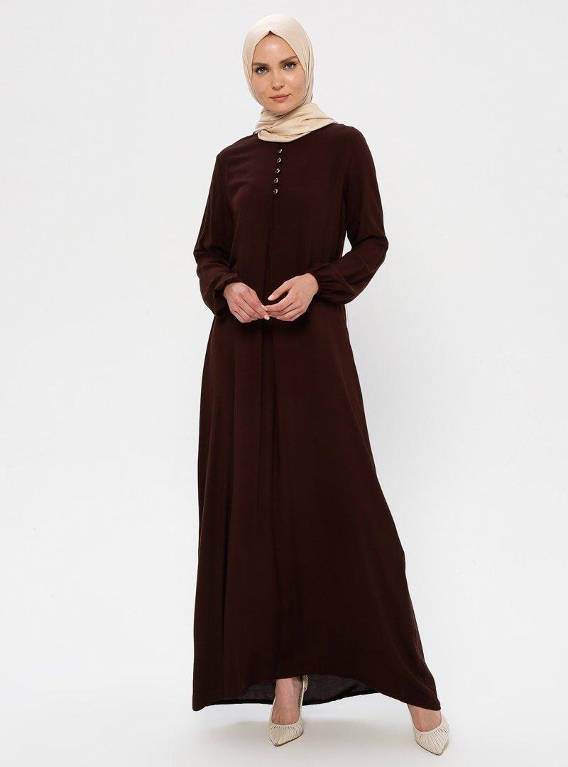 Ginezza Koyu Kahverengi A Pile Elbise