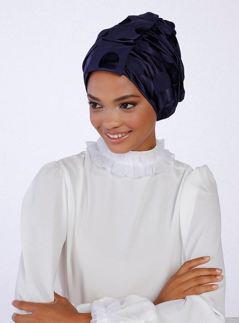 Halima X Modanisa Lacivert Puantiyeli Almira Hazır Türban