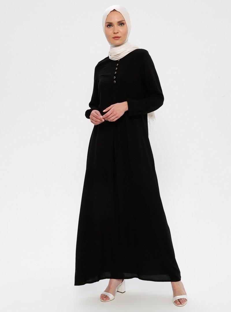 Ginezza Siyah A Pile Elbise