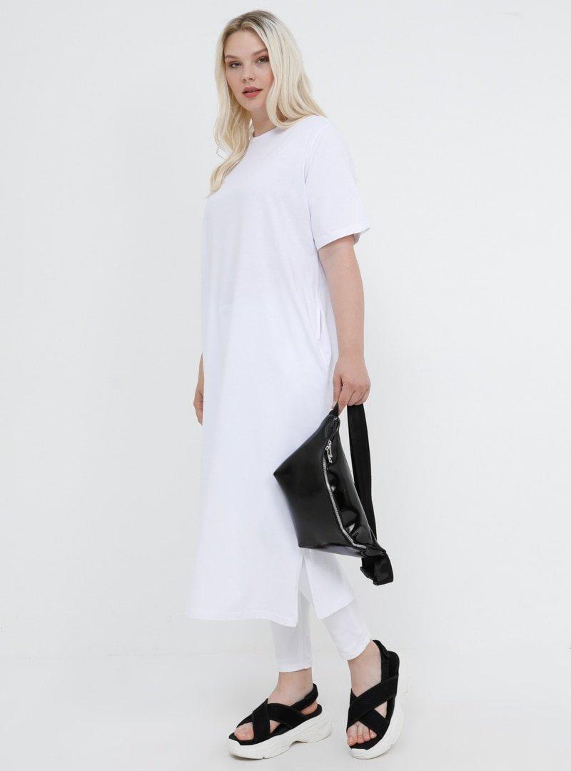 Alia Beyaz Doğal Kumaşlı Yırtmaç Detaylı Tunik