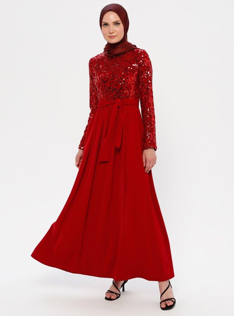 Filizzade Bordo Payetli Abiye Elbise