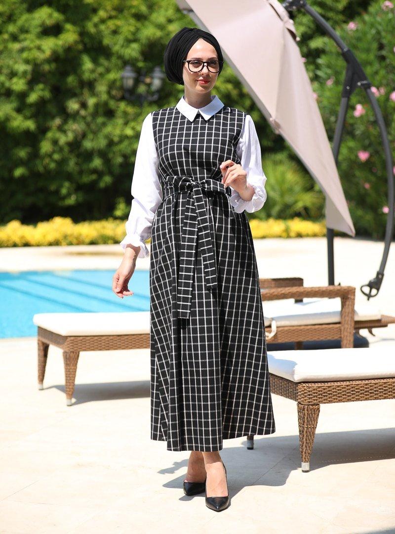 İnşirah Siyah Jile Elbise