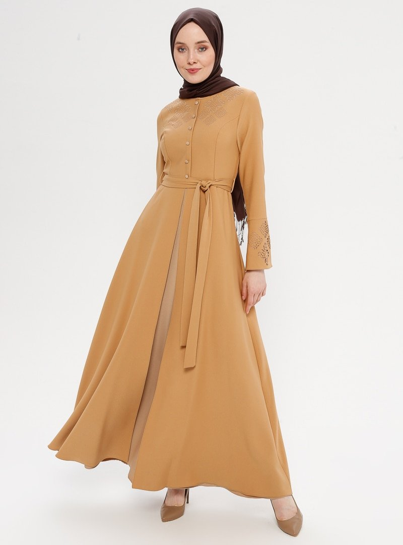 Loreen By Puane Toprak Lazer Kesim Motif Detaylı Elbise