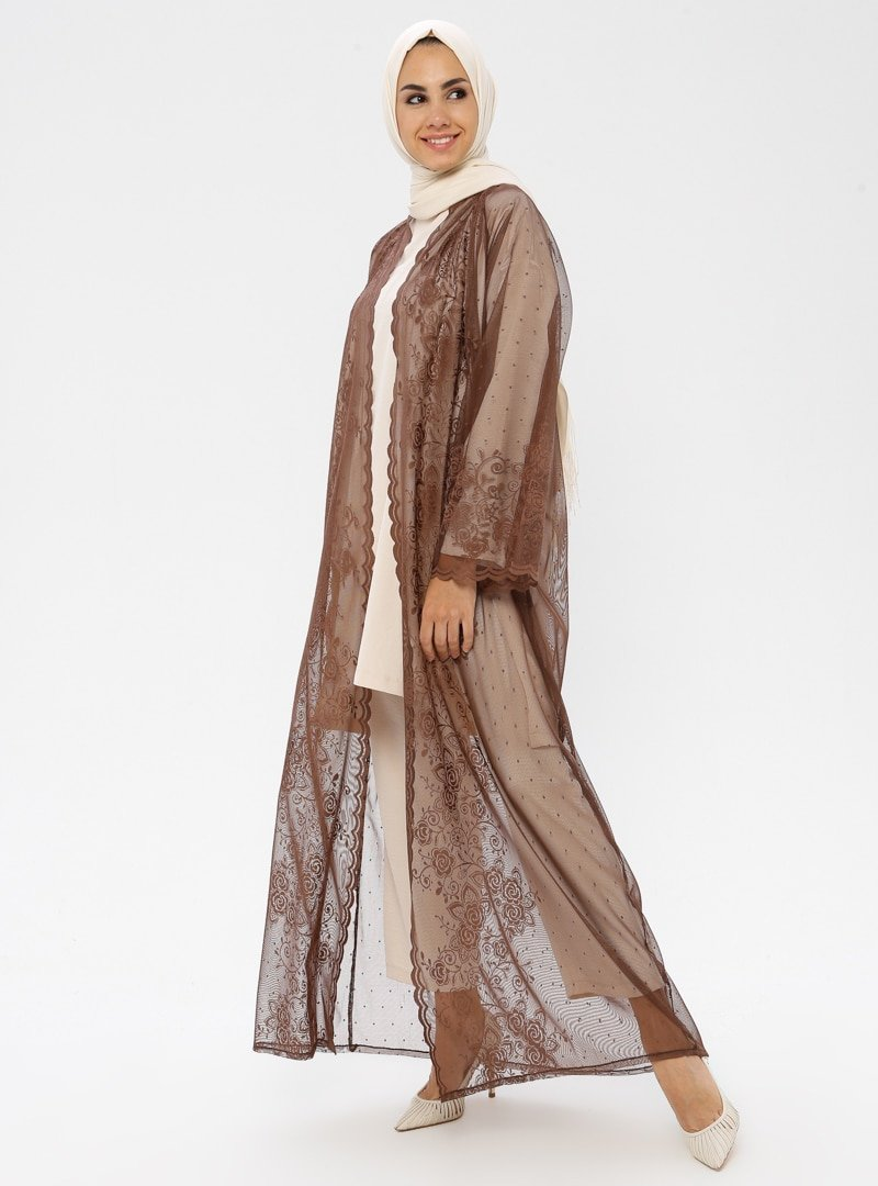 ModaNaz Kahverengi Dantel Ferace