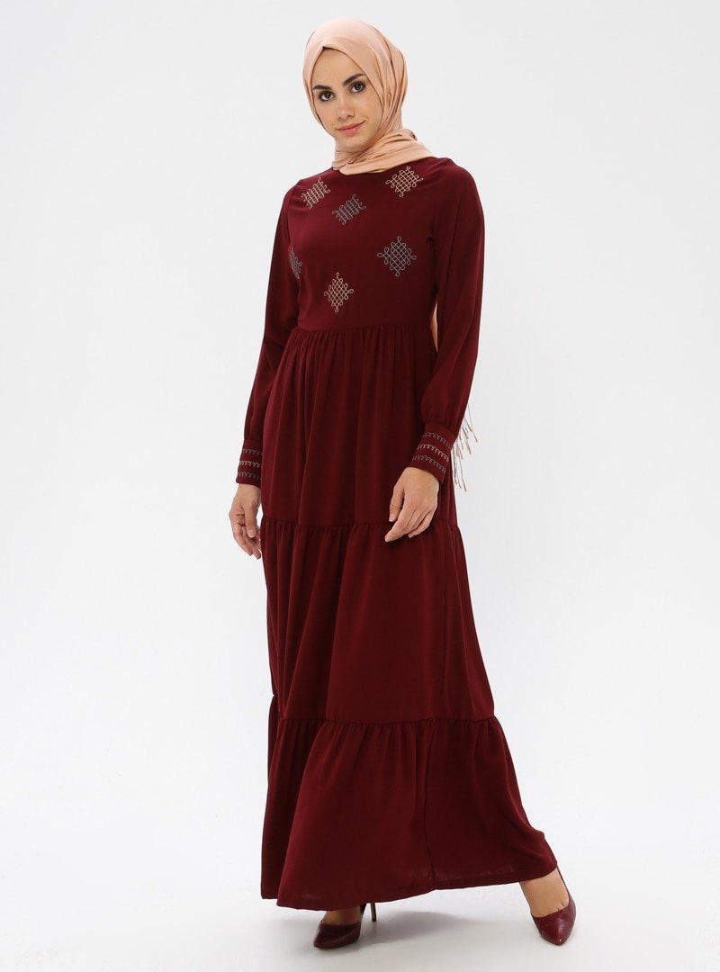 Ginezza Bordo Nakışlı Elbise
