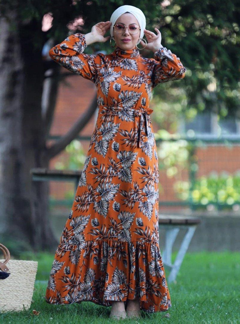 Esra Üstün Tarçın Çiçekli Elbise