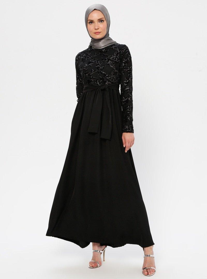 Filizzade Siyah Flok Baskılı Abiye Elbise