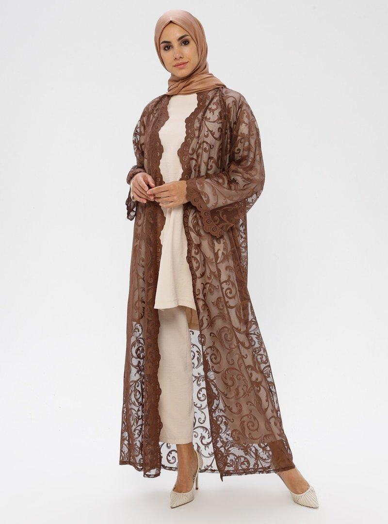 ModaNaz Koyu kahverengi Dantel Ferace
