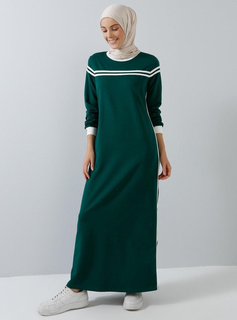 Benin Koyu Yeşil Cep Detaylı Elbise