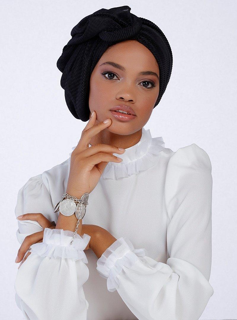Halima X Modanisa Siyah Puantiyeli Almira Hazır Türban