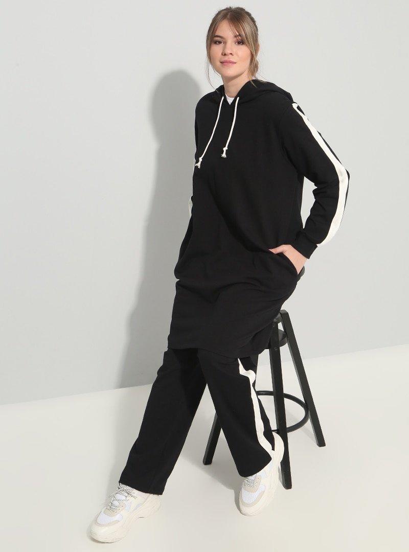 Alia Siyah Ekru Doğal Kumaşlı Spor Tunik&Pantolon İkili Takım