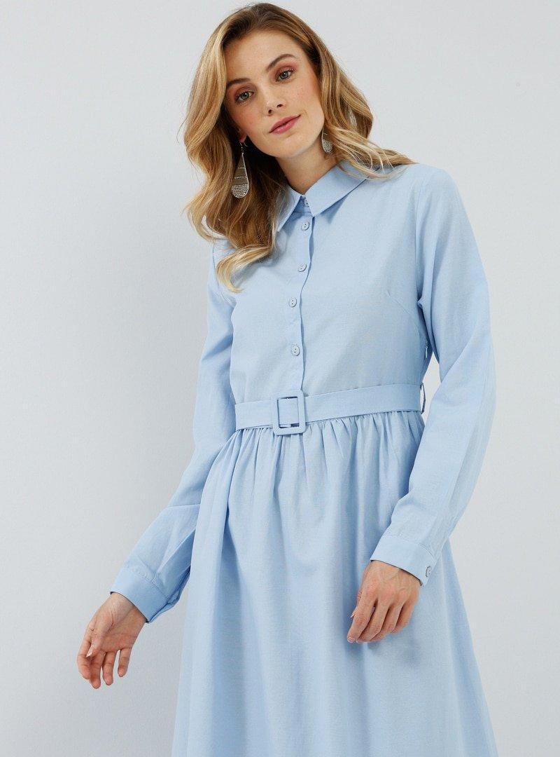 Everyday Basic Mavi Doğal Kumaşlı Kemer Detaylı Elbise