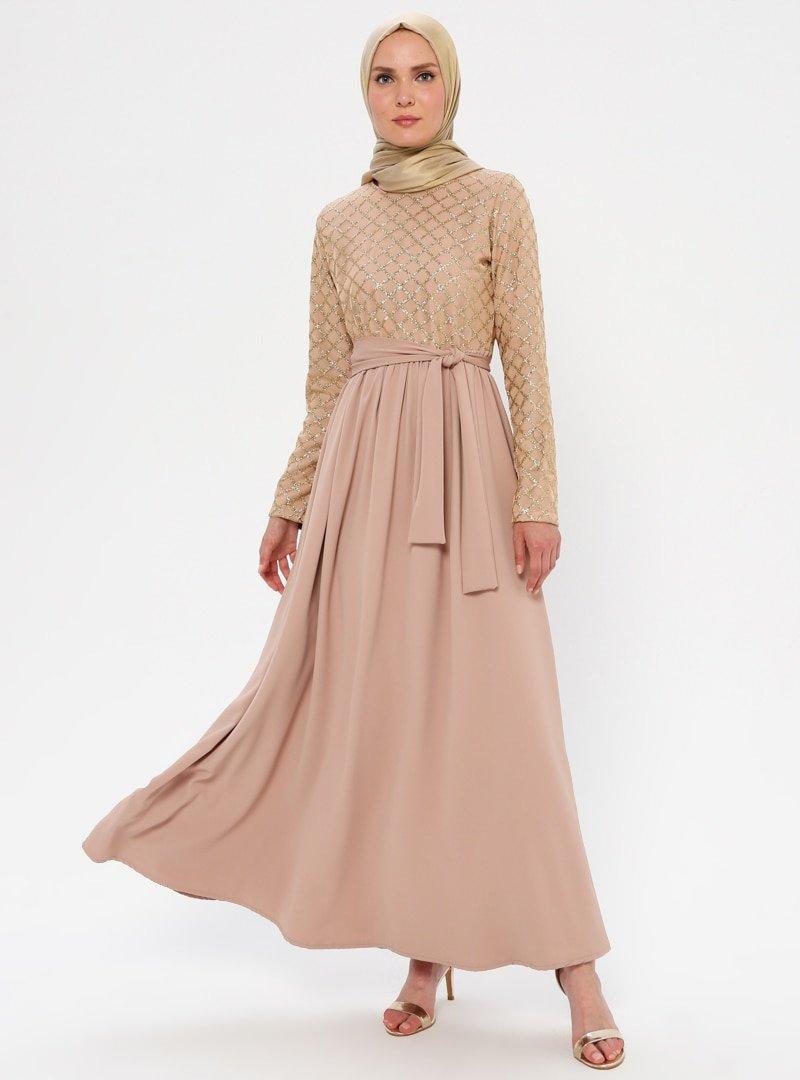 Filizzade Gold Simli Abiye Elbise