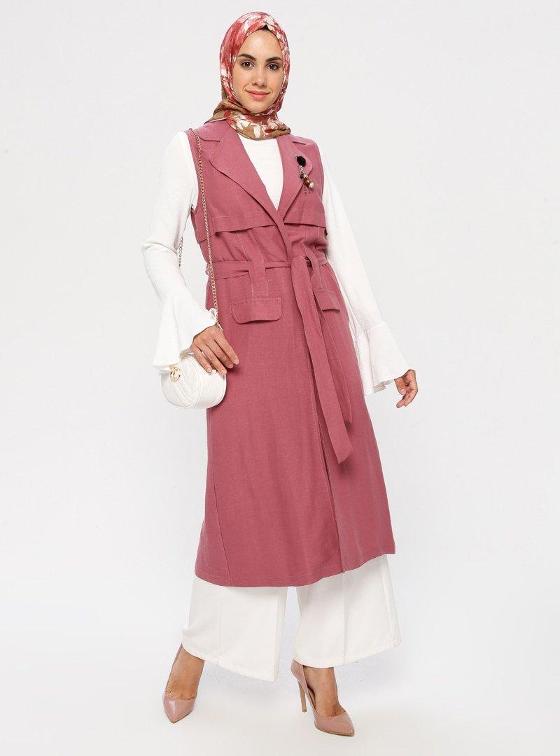 Puane Rose Volanlı Tunik&Broşlu Kap İkili Takım