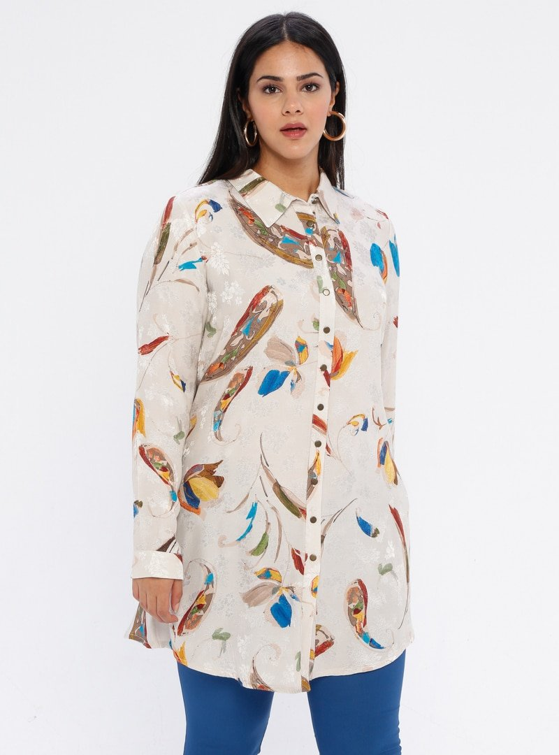 Nihan Taş Çok Renkli Desenli Tunik