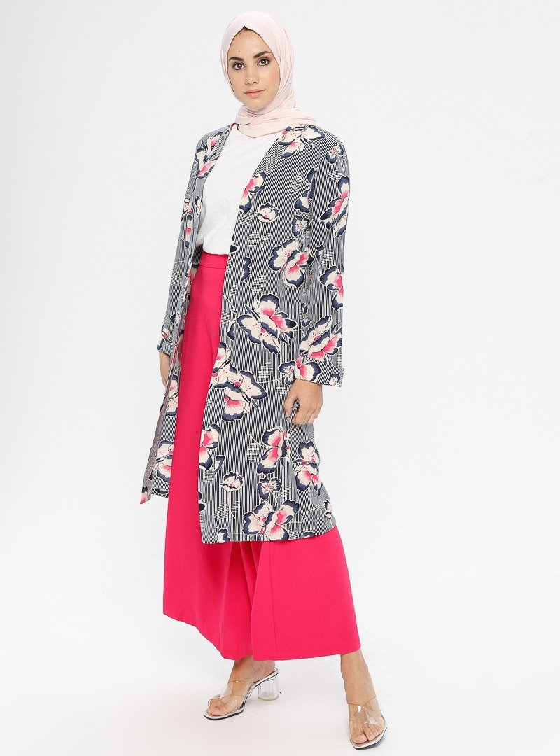 SELLY Lacivert Çiçekli Desenli Kimono