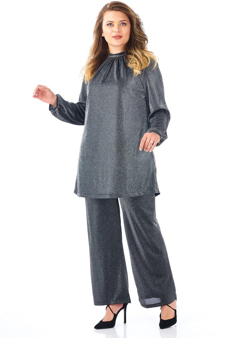 Saliha Gri Pretty Abiye Pantolon&Tunik İkili Takım