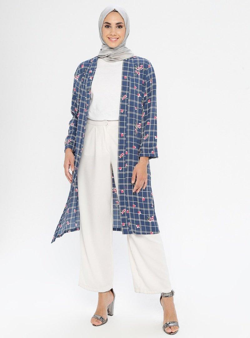 SELLY İndigo Desenli Kimono