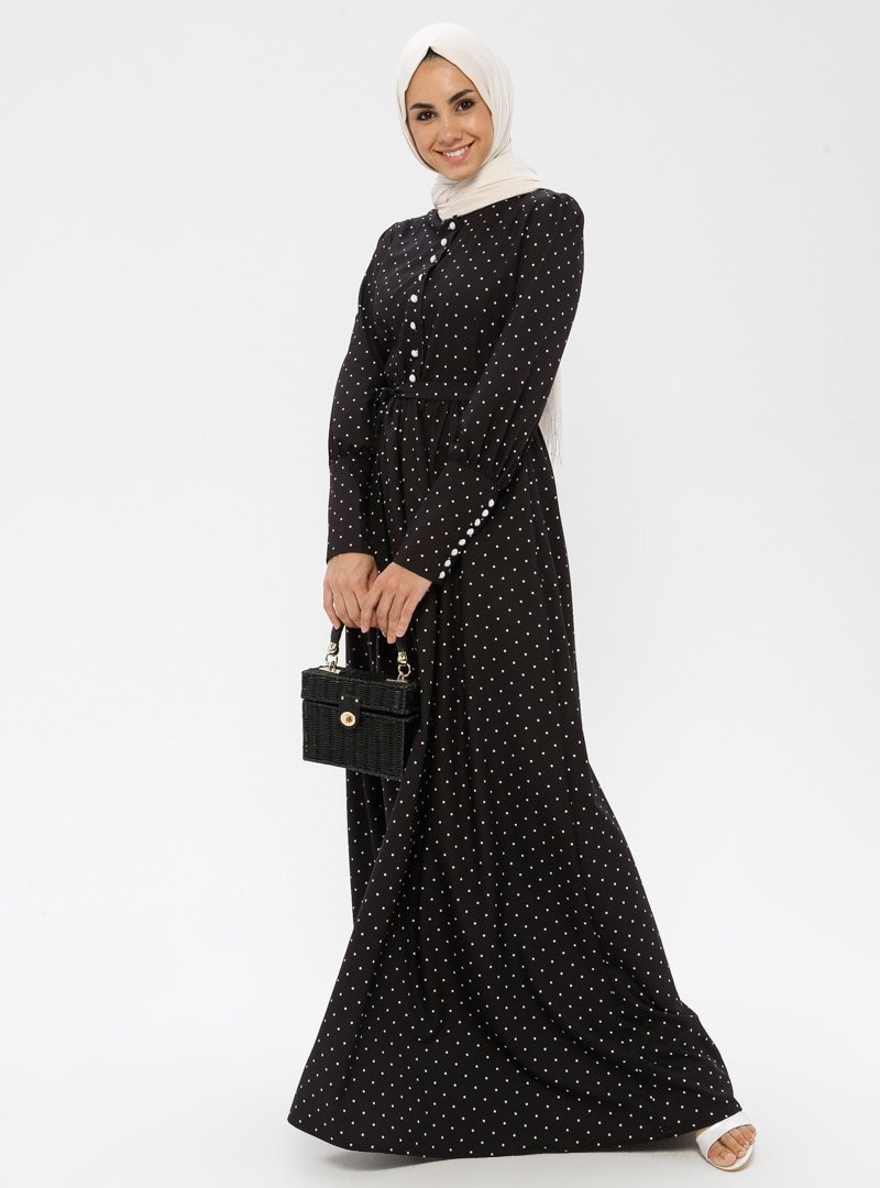 BÜRÜN Siyah Puantiyeli Elbise