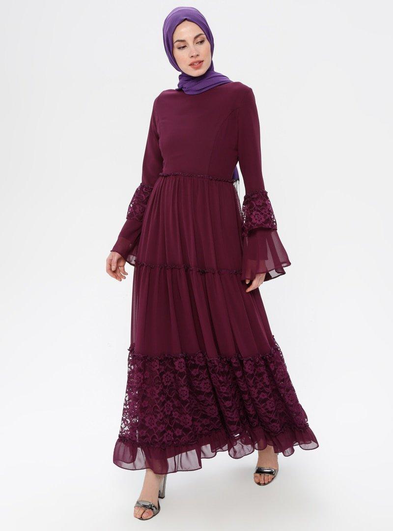 BÜRÜN Mürdüm Dantelli Fırfırlı Elbise