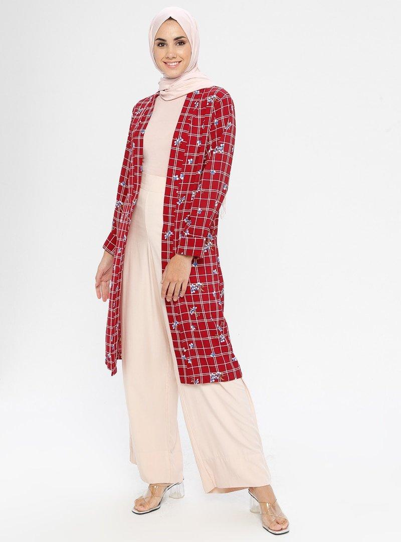 SELLY Bordo Desenli Kimono