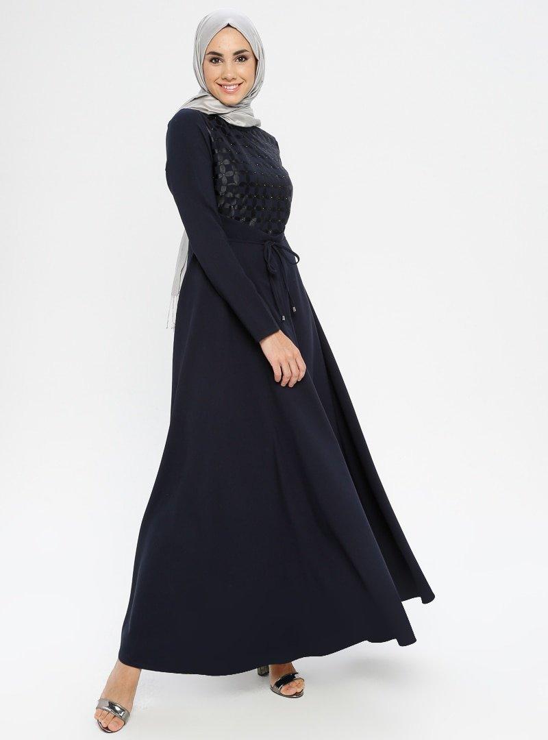 Loreen By Puane Lacivert Taş Baskılı Elbise