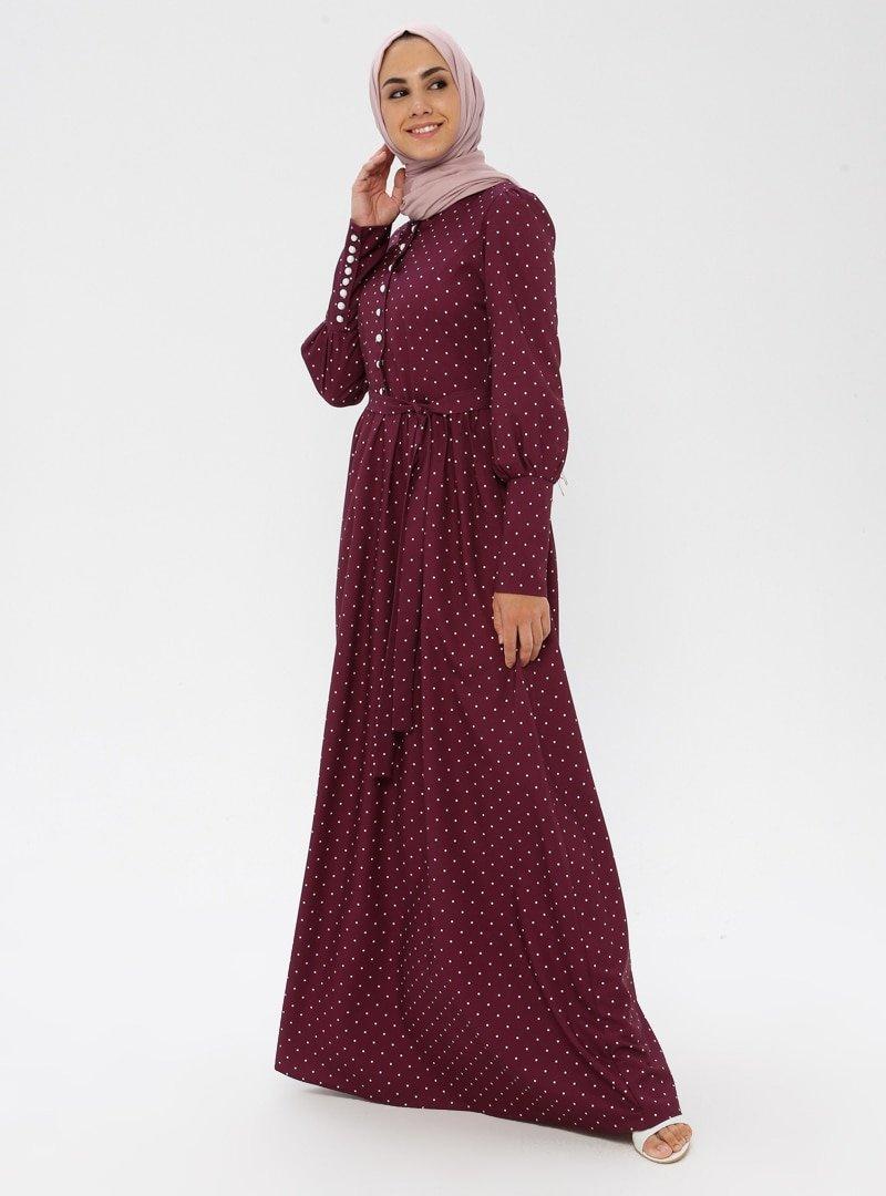BÜRÜN Mürdüm Puantiyeli Elbise