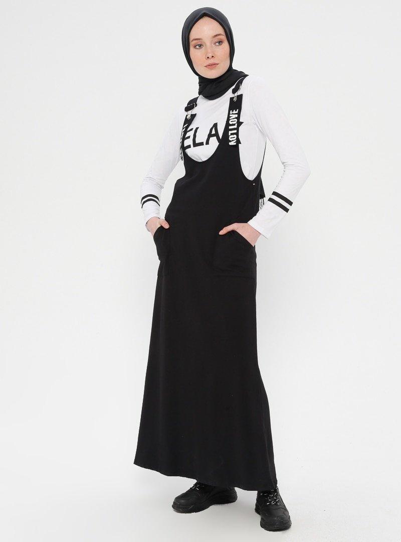 Loreen By Puane Siyah Beyaz Bluzlu Askılı Elbise