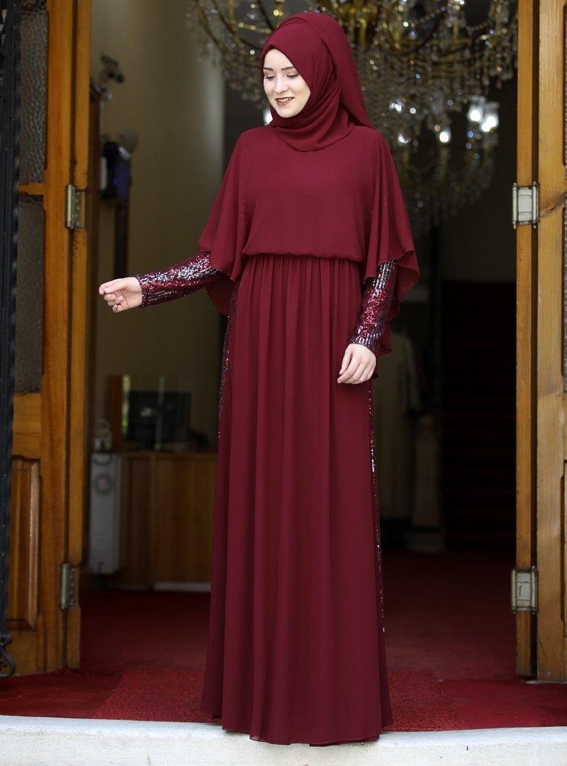 Rana Zenn Bordo Güneş Abiye Elbise