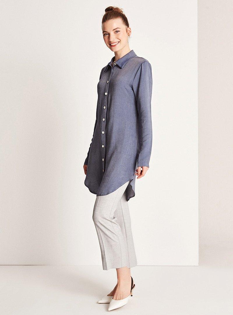Muni Muni Mavi Düğme Detaylı Gömlek
