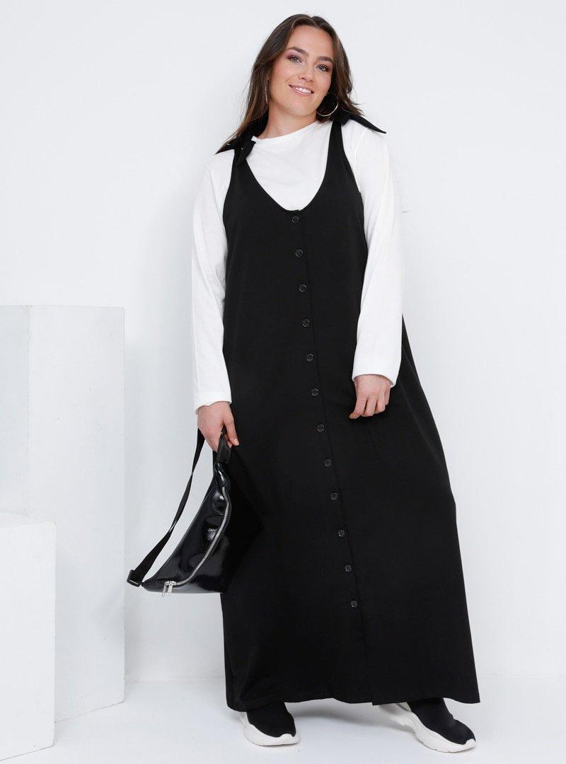 Alia Siyah Ekru Pamuklu Bluz&Elbise İkili Takım