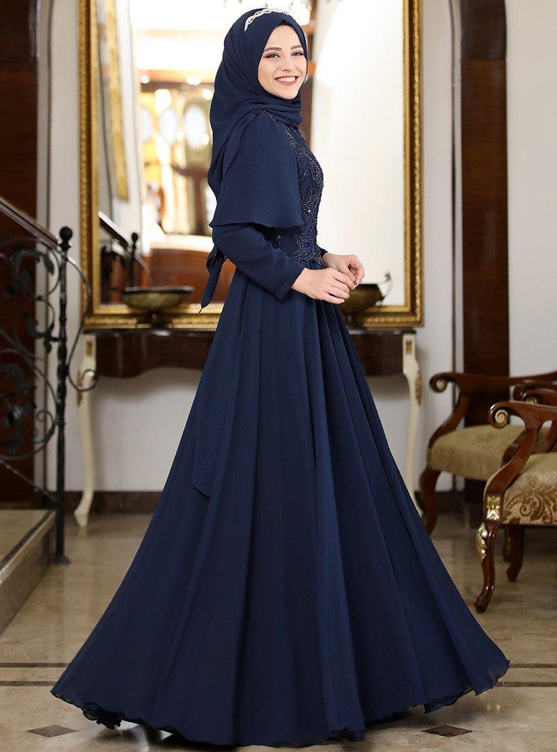Al-Marah Lacivert Yasemen Abiye Elbise