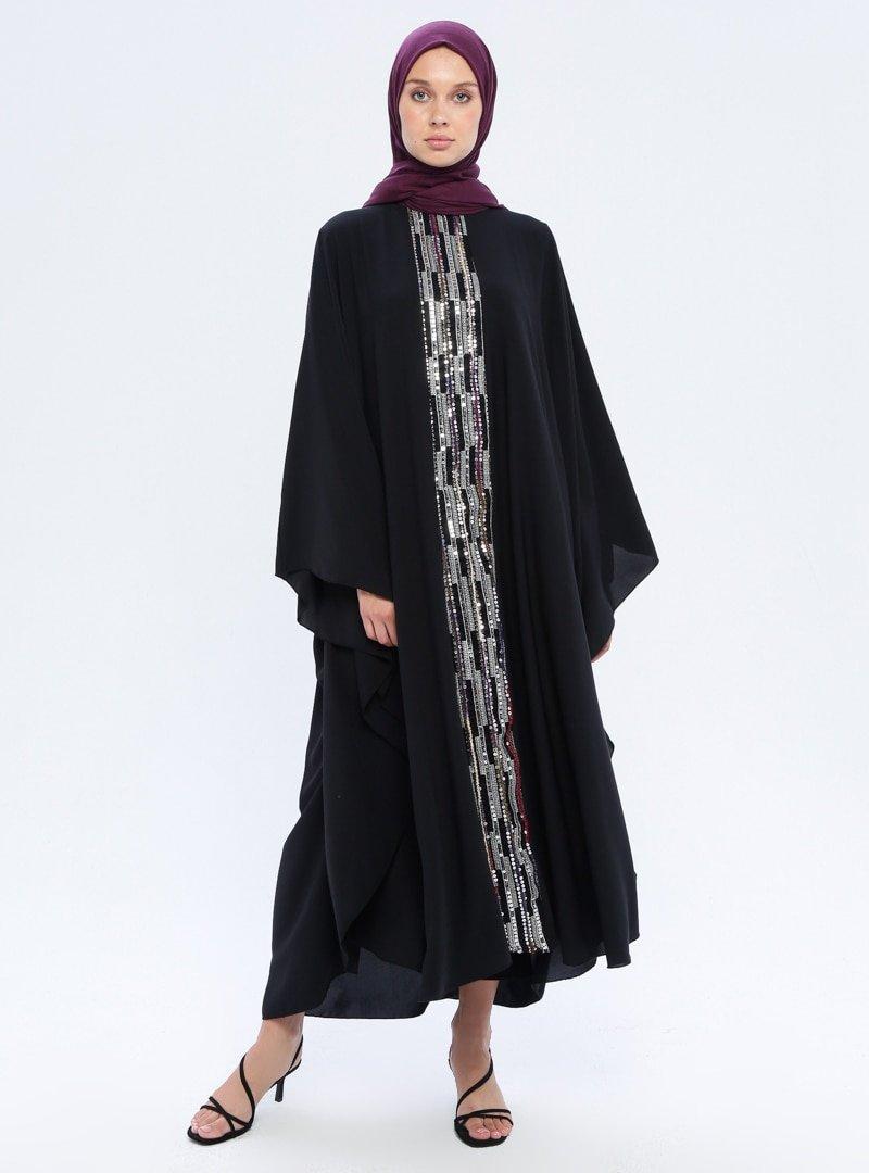 Filizzade Siyah Gümüş Pul Detaylı Ferace