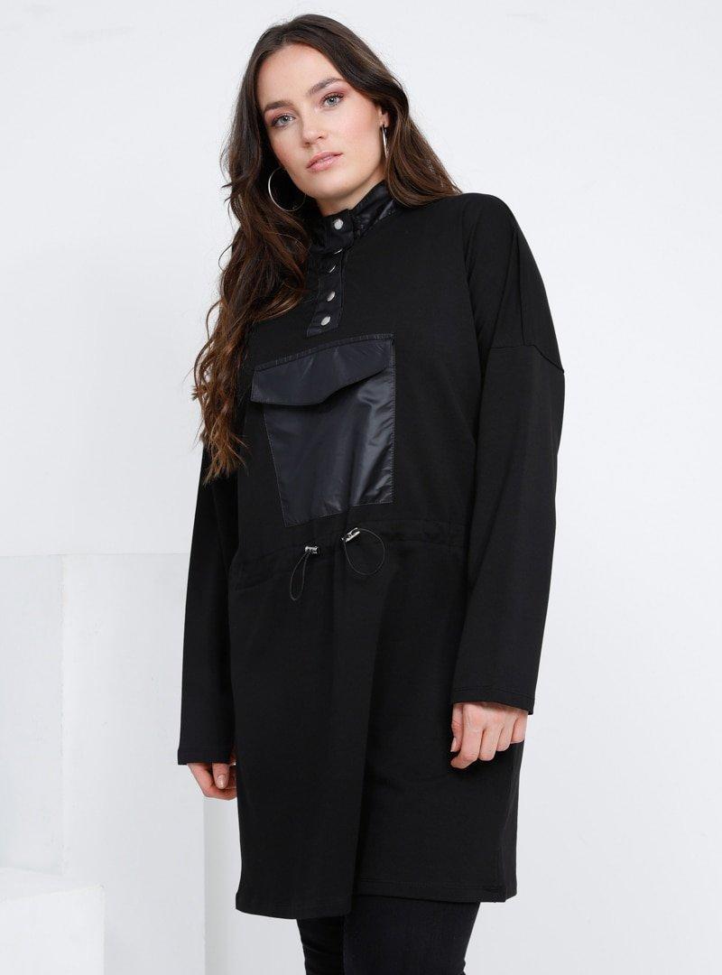 Alia Siyah Doğal Kumaşlı Cep Detaylı Beli Bağcıklı Tunik