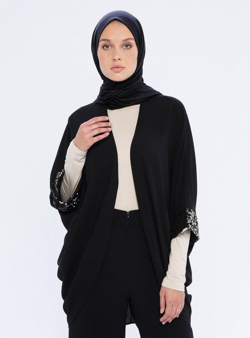 Mileny Siyah Payet Detaylı Ceket