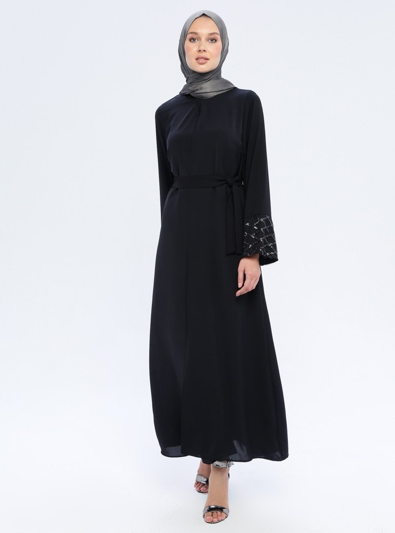 Filizzade Siyah Kol Detaylı Ferace
