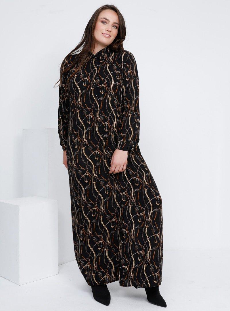 Alia Siyah Doğal Kumaşlı Boydan Düğmeli Elbise