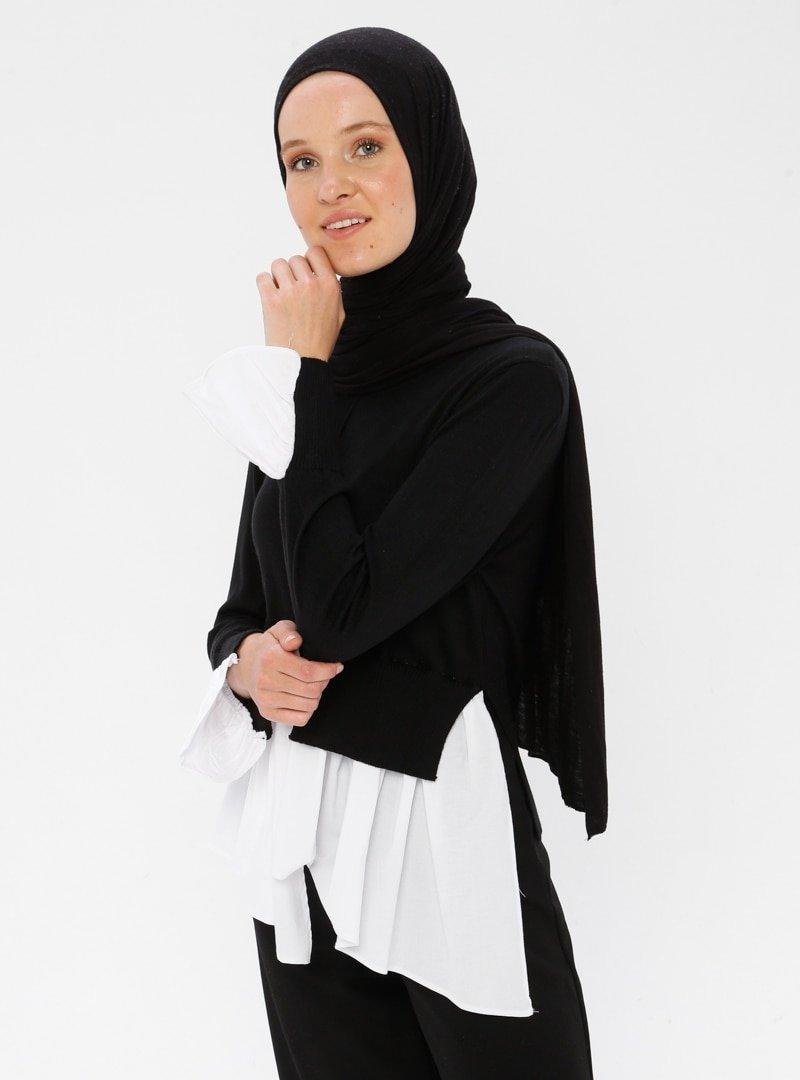 Nisan Triko Siyah Kontrast Renkli Triko Kazak