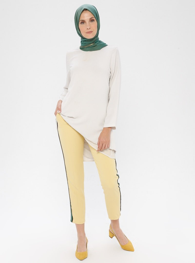 APSEN Sarı Renkli Şerit Detaylı Pantolon