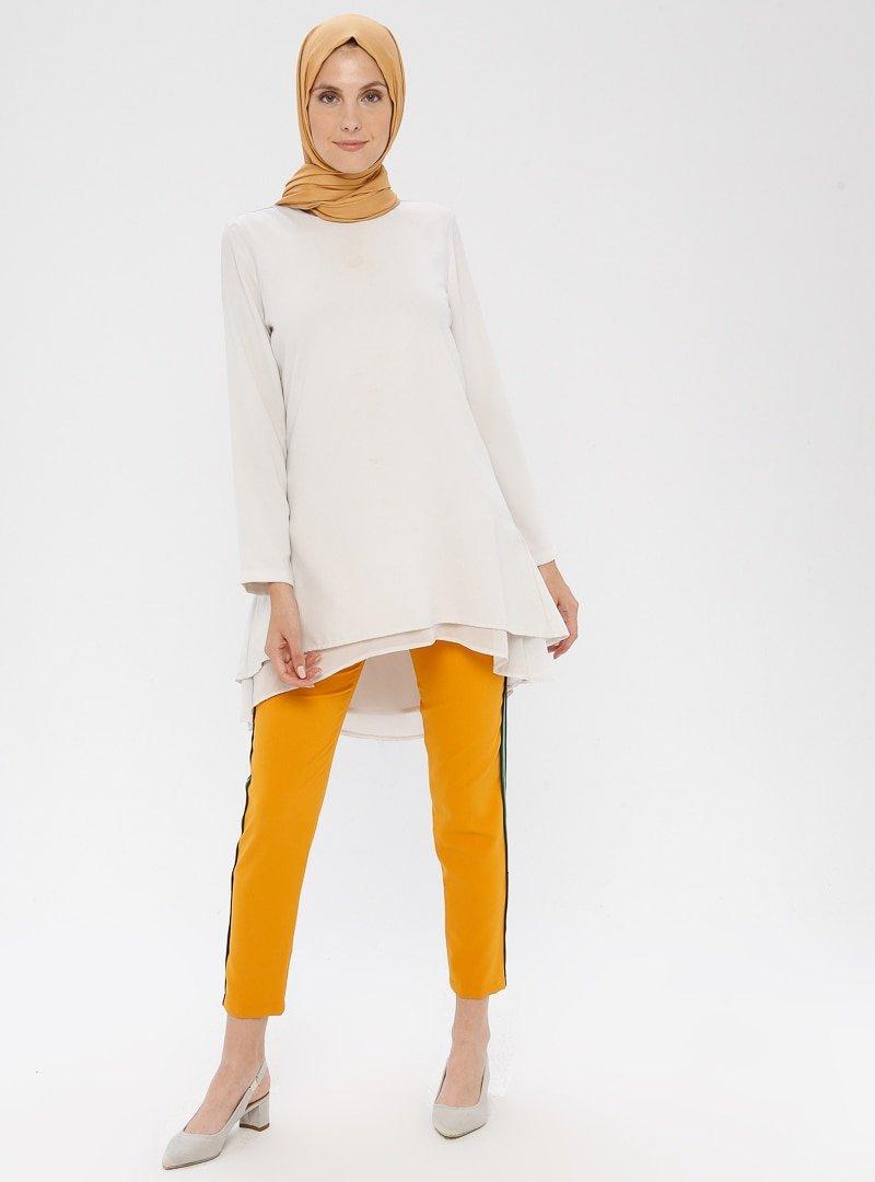 APSEN Hardal Renkli Şerit Detaylı Pantolon