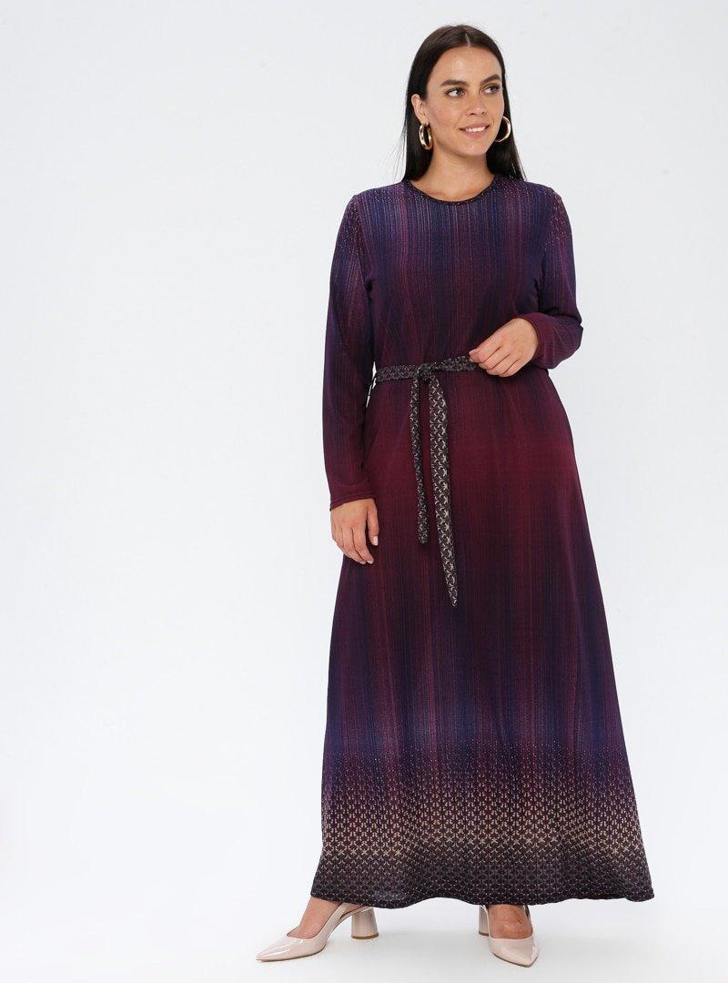 GELİNCE Mor Çok Renkli Elbise