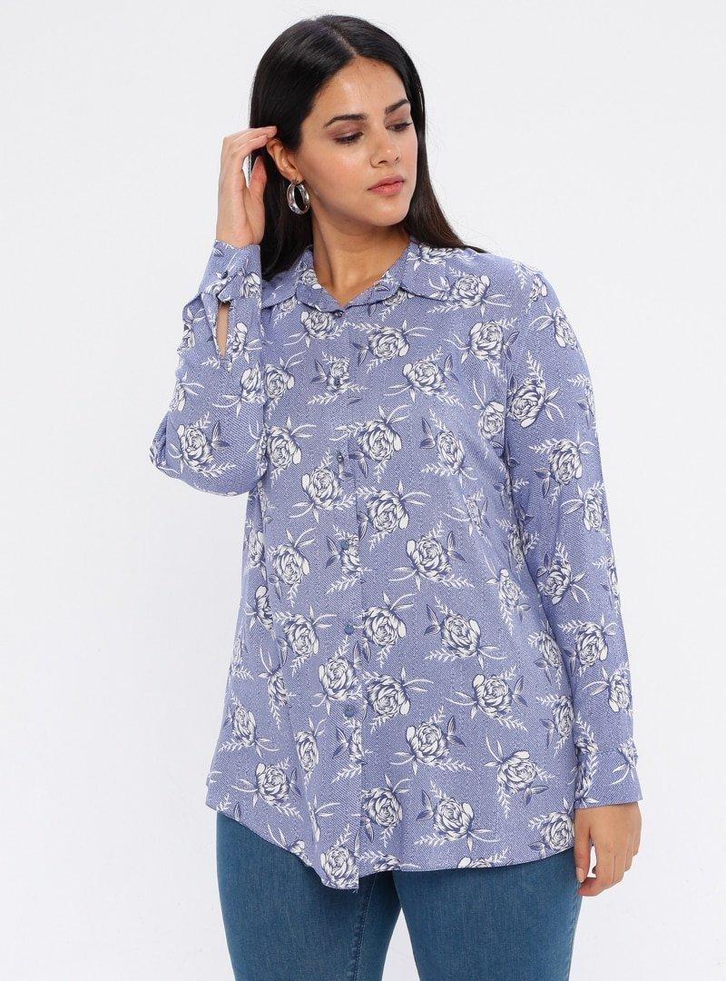 GELİNCE Mavi Çiçek Desenli Gömlek Tunik