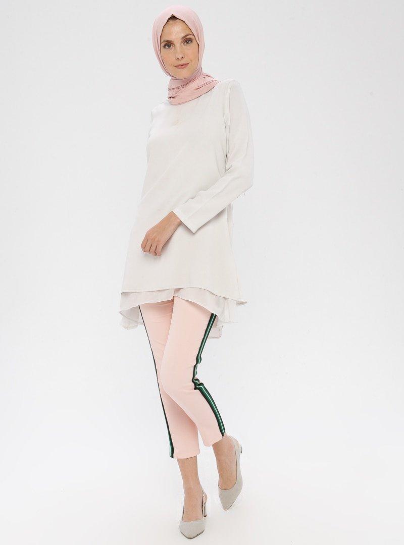 APSEN Pudra Renkli Şerit Detaylı Pantolon