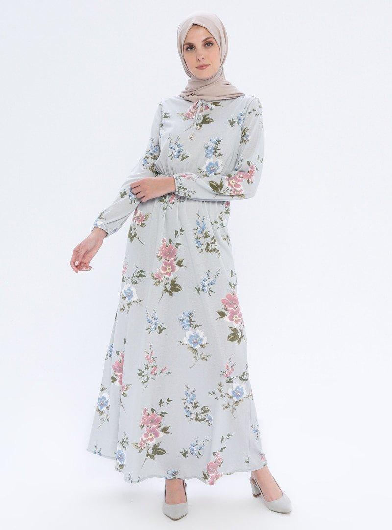 Filiz Fashion Gri Beli Lastikli Çiçekli Elbise