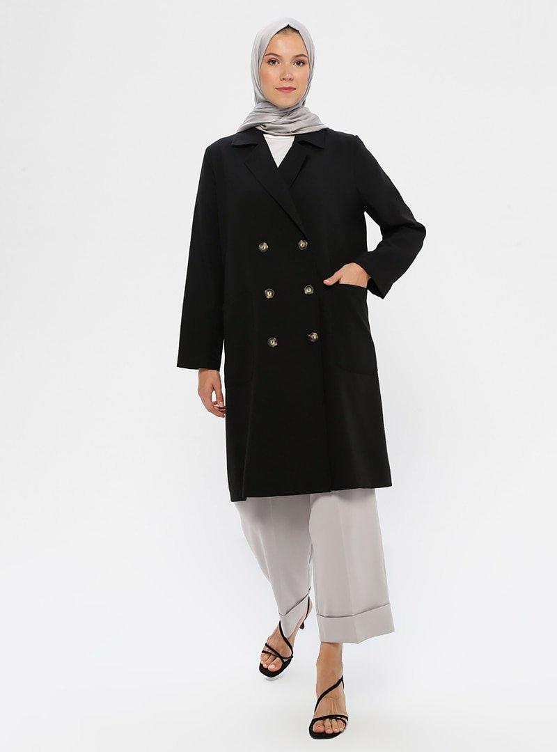 Phull Siyah Cep Detaylı Uzun Ceket